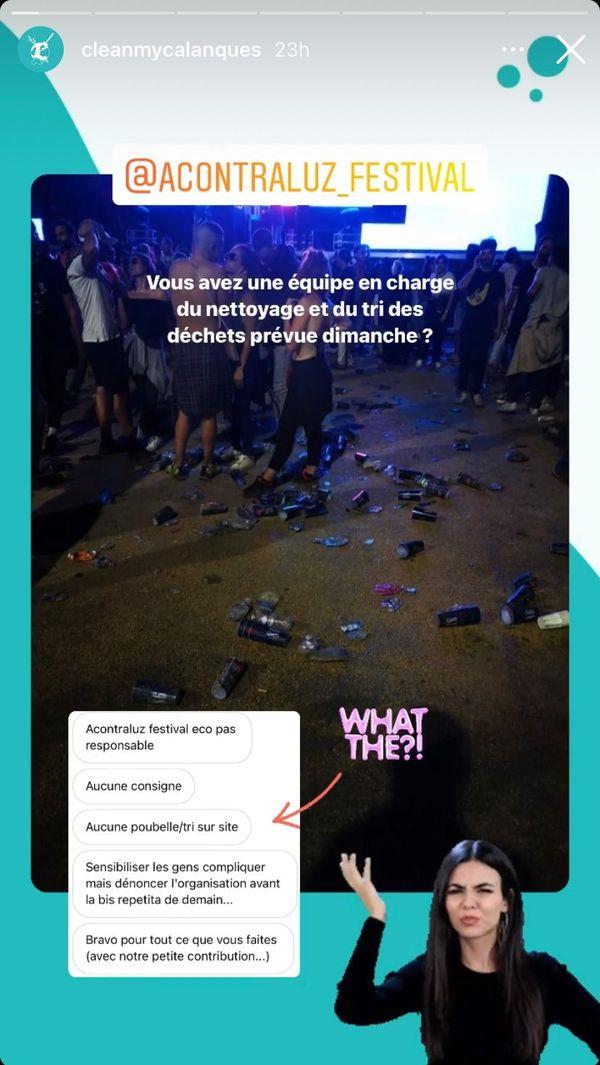 Cette photo en story instagram postée ce samedi matin par Clean My Calanques est celle qui a déclenché les témoignages de nombreux festivaliers concernant la propreté d'Acontraluz festival.
