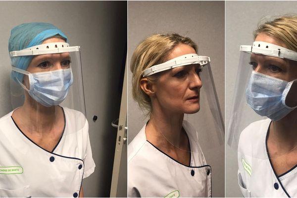 L'impression de la pièce en plastique autour de la tête du personnel soignant est réalisé en imprimante 3D. Un morceau de plexiglas est intégré ensuite.