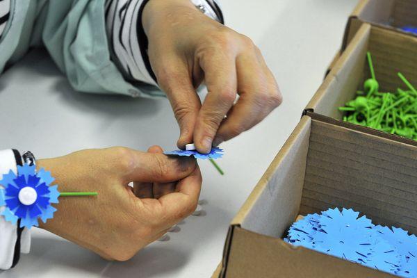 Le Bleuet de France, assemblé à la main, est échangé contre un don en faveur de ses bénéficiaires : anciens combattants, veuves de guerres, orphelins et pupilles de la nation, victimes du terrorisme.