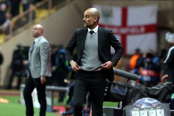 Guardiola, l'entraîneur de Manchester City lors du match retour contre l'AS Monaco.