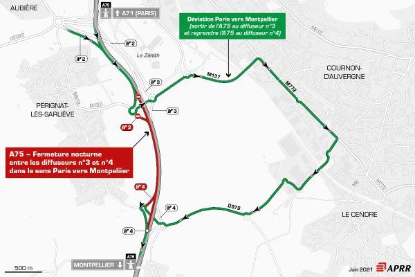 Mardi 29 juin, la circulation sera déviée sur l'autoroute A75 près de Clermont-Ferrand entre le zénith et la Roche-Blanche.
