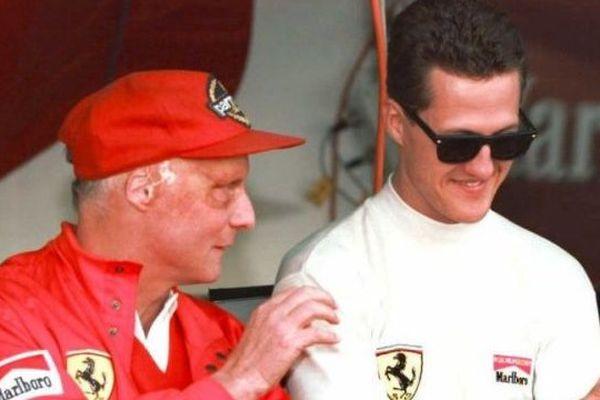 Niki Lauda et Michael Schumacher en 1996