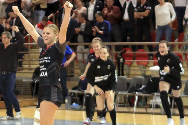 La joie des joueuses de la JDA Dijon Handball à la fin d'un match le 18 avril 2019 (Archives)