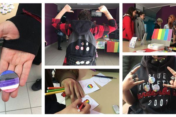"""Les élèves du lycée Pothier d'Orléans ont réalisé eux-mêmes des badges pour dire """"non"""" à l'homophobie."""