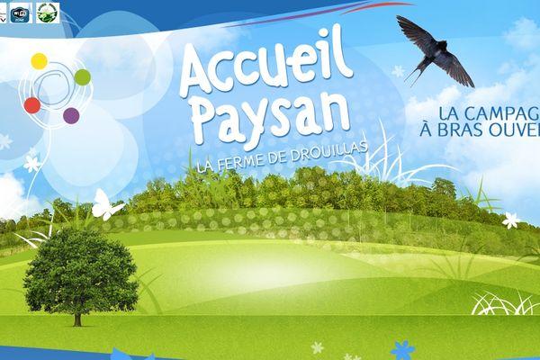 """Logo de la ferme de Drouillas ( Creuse) qui a expérimenté le label """"accueil paysan"""" depuis une dizaine d'années"""
