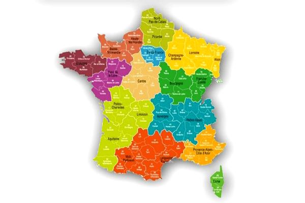 La  carte de France des 13 régions