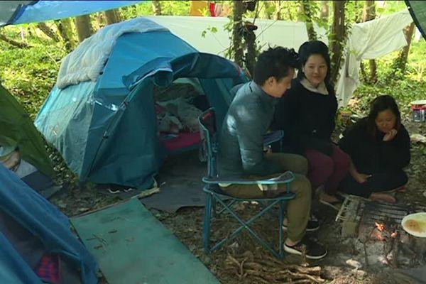 Dans la forêt de Neuville, un nouveau camp de 75 tentes s'est installé.