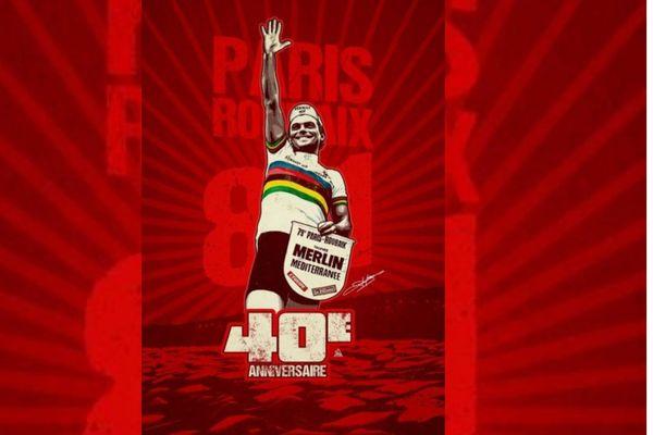 Pour les 40 ans de la victoire de Bernard Hinault sur Paris-Roubaix, un tableau de l'illustrateur Greg aux enchères pour la lutte contre le cancer