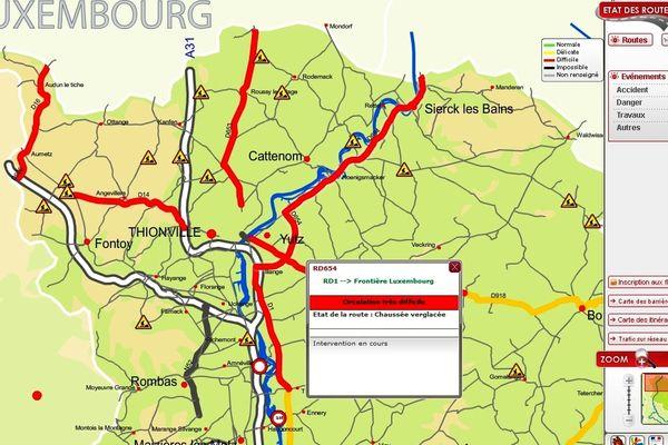 Circulation très difficile sur les axes secondaires de la Moselle lundi 12 mars 2013 en fin de journée.