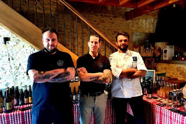Les trois chefs cuisiniers associés pour un repas solidaire (de gauche à droite) Olivier Leclerc, Joëlson Viera et Mathias Martin