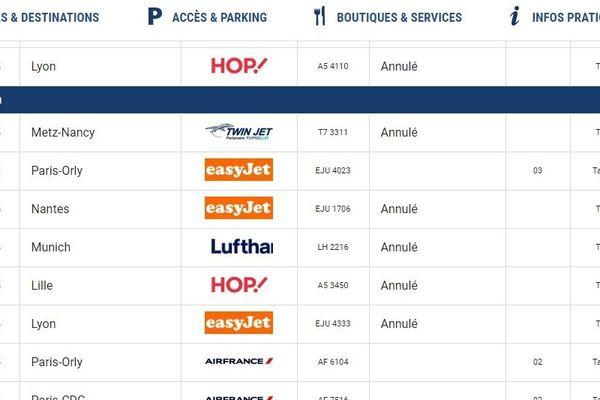 Le tableau des arrivées en temps réel sur le site de l'aéroport de Toulouse-Blagnac.