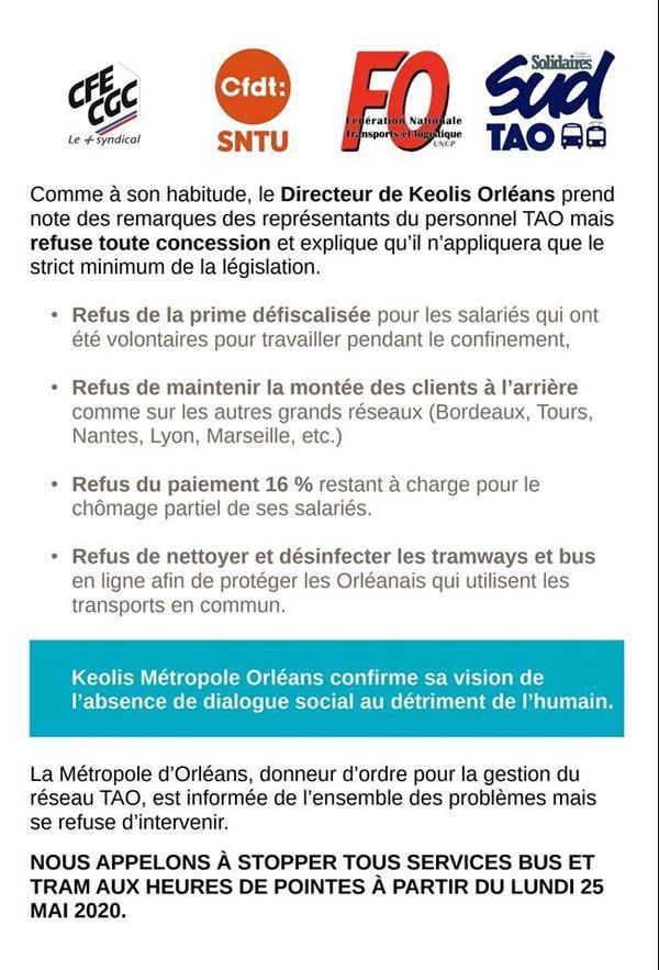 Les syndicats de la TAO à Orléans (Loiret) appellent à bloquer les bus et les tramways lundi 25 mai
