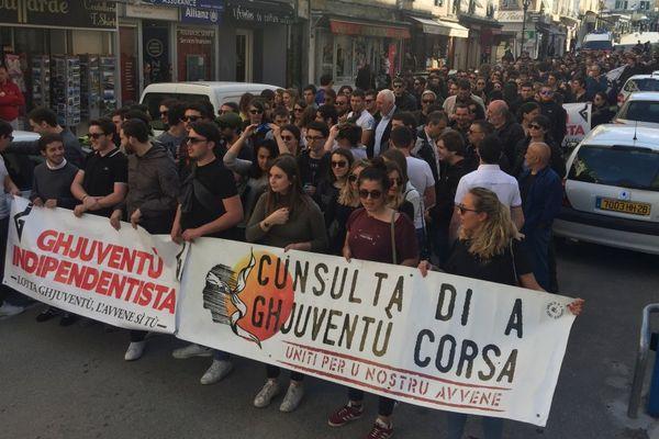 """05/04/20017 - 250 personnes manifestent à Corte (Haute-Corse) contre la """"répression de la jeunesse corse"""""""
