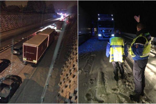 Près de 2 000 automobilistes ont été bloqués par la neige dans la nuit du 12 au 13 janvier sur l'autoroute A40 dans l'Ain.