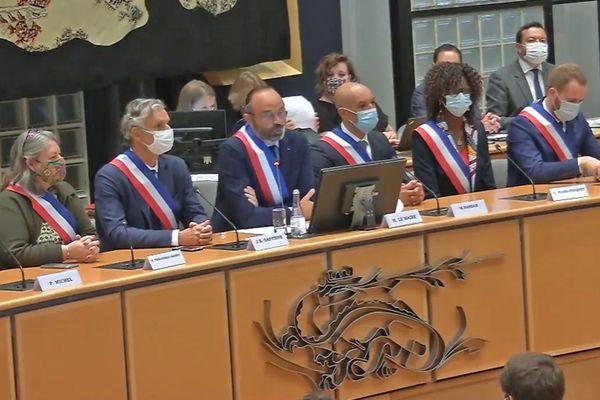5 juillet 2020- Première allocution d'Edouard Philippe, maire du Havre, entouré de ses adjoints