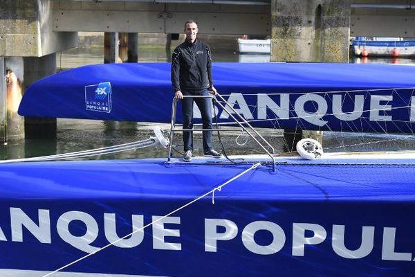 Armel Le Cléac'h sur son trimaran, en octobre 2017 à Lorient