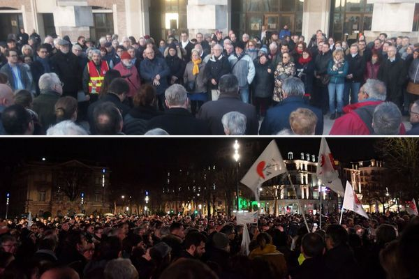 Au-dessus, le rassemblement à Dunkerque. En dessous, le rassemblement à Lille.