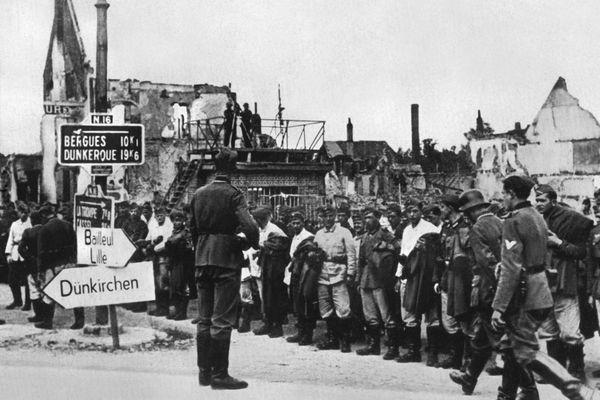 Les troupes allemandes à proximité de Bergues et Dunkerque en juin 1940.