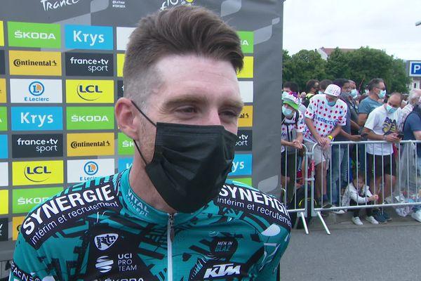Quentin Pacher à l'arrivée de la 18ème étape jeudi 15 juillet 2021, à Luz Ardiden (dernière étape de montagne) dans les Pyrénées-Atlantiques.