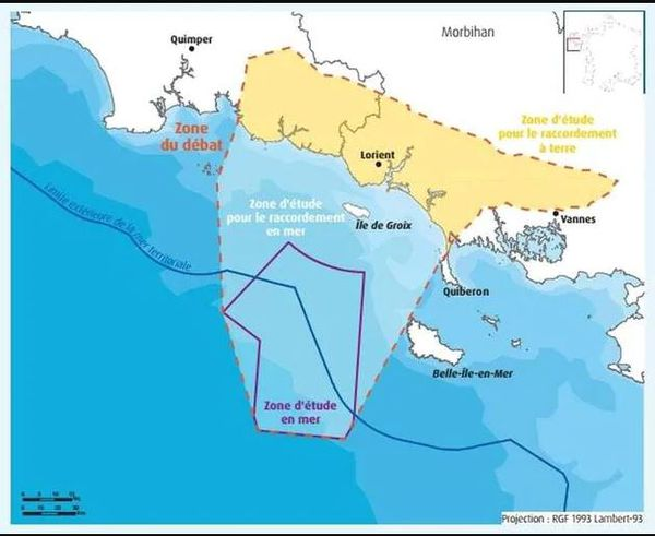 Les deux parcs d'éoliennes flottantes devront se situer dans une zone située au sud de Groix et à l'Ouest de Belle-Île-en-Mer (zone en violet).