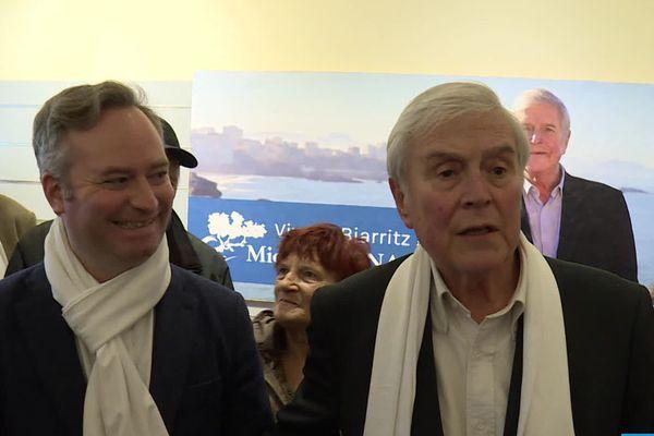 Jean-Baptiste Lemoyne et Michel Veunac lors de l'inauguration du QG de campagne à Biarritz