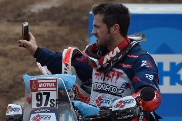 Le motard français Julien Toniutti lors de la première journée du Dakar à Lima, le 6 janvier 2019.