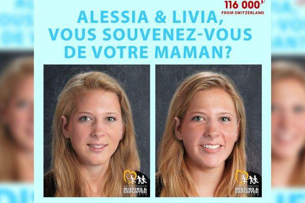 La mère d'Alessia et Livia a lancé un nouvel appel à témoins, sur Facebook. Avec une photo artificiellement vieillie pour donner l'idée de ce à quoi les filles, qui seraient aujourd'hui âgées de 15 ans, devraient ressembler.
