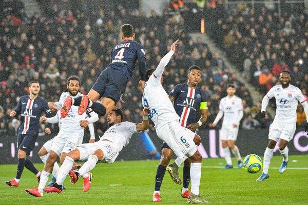 Accrochage lors du match de la 24e journee de ligue 1, entre le PSG et OL (Olympique Lyonnais) au Parc des Princes, le 09 Fevrier 2020.