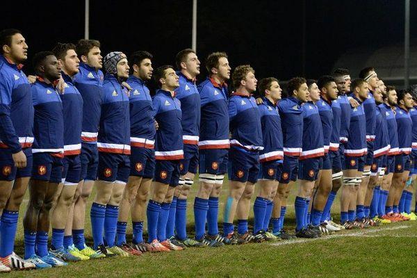 L'équipe de France de rugby avant le match contre le Pays de Galles