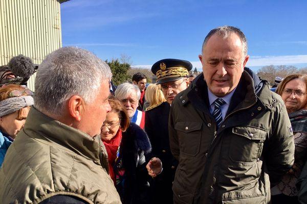 Le ministre de l'agriculture, Didier Guillaume à la rencontre des agriculteurs sinistrés des inondations à Trèbes - 4 février 2019