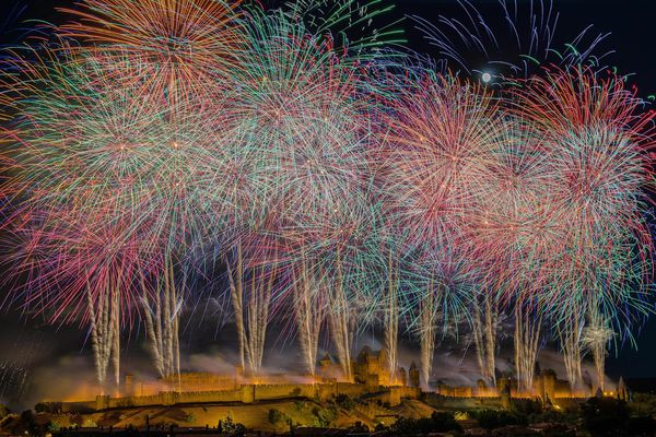La cité de Carcassonne pendant la fête nationale du 14 juillet.