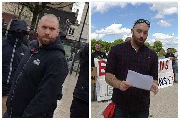 A gauche, capture de la vidéo de l'altercation dimanche 31 janvier à Dijon. A droite, Benjamin Lematte lors d'une action à Chalon-sur-Saône en 2017.