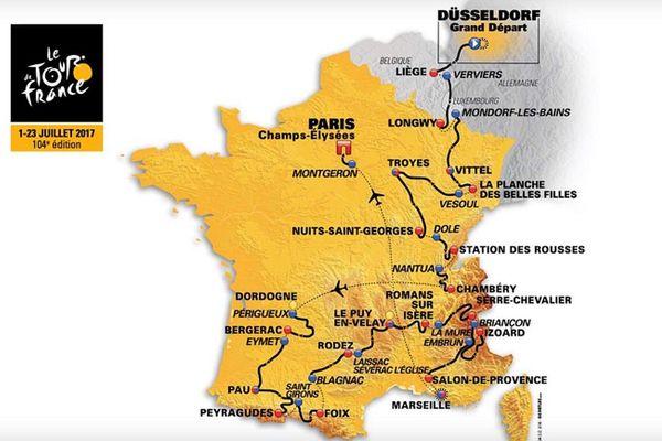 Tracé du parcours de la 104ème édition du Tour de France. Pas de passage en région, mais des représentants du Centre-Val de Loire dans le peloton.