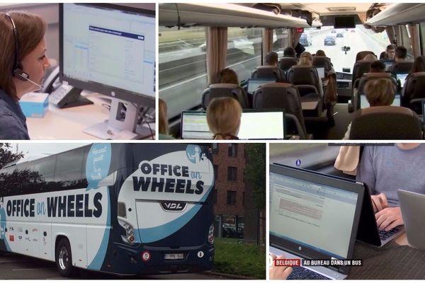 Les salariés commencent à travailler en entrant dans le bus.