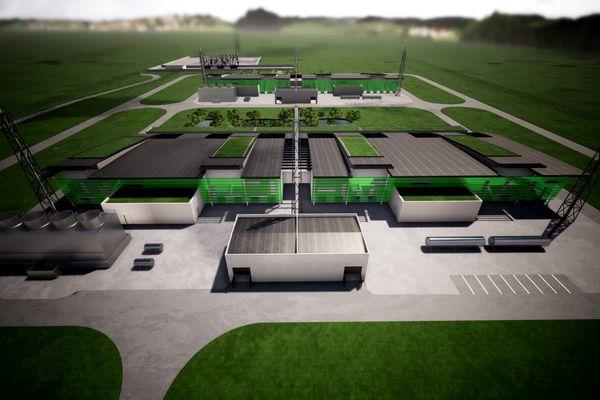 Une maquette du projet d'usine à St Jean-de-Folleville sur la zone industrielle de Port-Jérôme