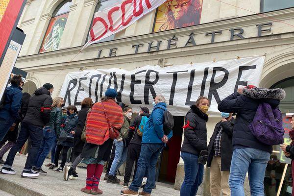 Le Théâtre de Laval occupé par les intermittents du spectacle, photo prise le 17 mars 2021
