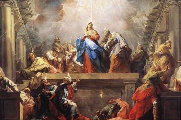 """""""La Pentecôte"""", par le peintre Jean Restout. Tableau conservé au musée du Louvre (aile Sully)."""