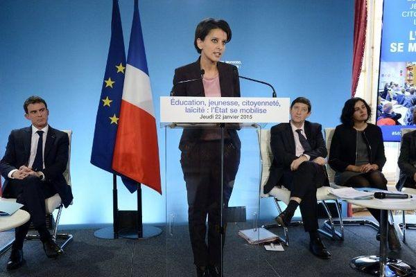 Najat Vallud-Belkacem lors de la présentation de son plan républicain pour l'école