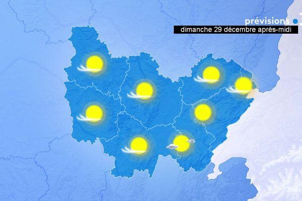 Les prévisions de Météo-France pour l'après-midi du dimanche 29 décembre 2019 en Bourgogne-Franche-Comté