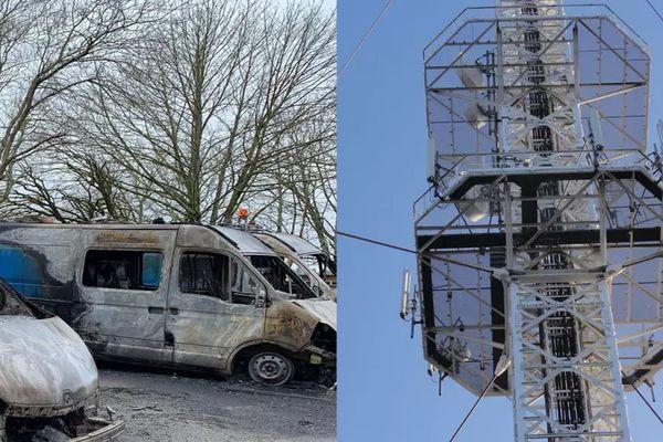 Incendies de véhicules Enedis à Limoges en février 2020 et incendie de l'émetteur des Cars en janvier 2021 : deux affaires liées et 6 personnes appartenant à l'ultragauche placées en garde à vue.