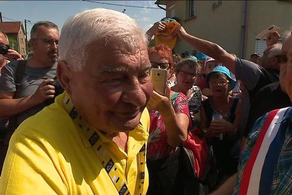 Raymond Poulidar sur le Tour 2019 en Franche-Comté à Aibre, Doubs.