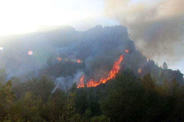 L'incendie de Tautavel s'est propagé rapidement avec la tramontane dans un site escarpé.