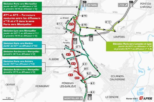 La circulation sera déviée la nuit du 15 février sur l'A75 près de Clermont-Ferrand.