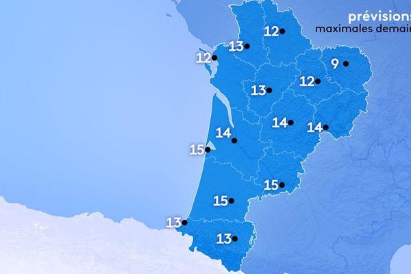 9° à Guéret, 12 à Poitiers et Limoges, 14 à Bordeaux, 15 à Agen