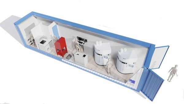 """la micro-factory pensée par """"medintown"""": «On y trouve une salle blanche, une partie impression 3D et un local technique. Le conteneur a juste besoin d'être raccordé à l'eau et l'électricité.»  explique son concepteur stéphanois Jérôme Prêcheur"""