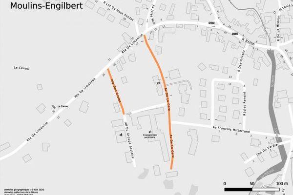 Le port du masque est obligatoire dans les rues surlignées en orange à Moulins-Engilbert