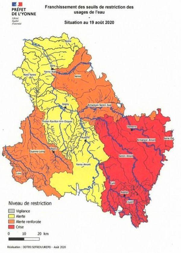 La situation hydrologique est critique dans le Sud-Est du département de l'Yonne (carte au 19 août 2020)