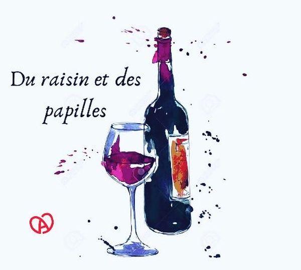 """Le logo du podcast dédié aux vins d'Alsace, """"Du raison et des papilles""""."""