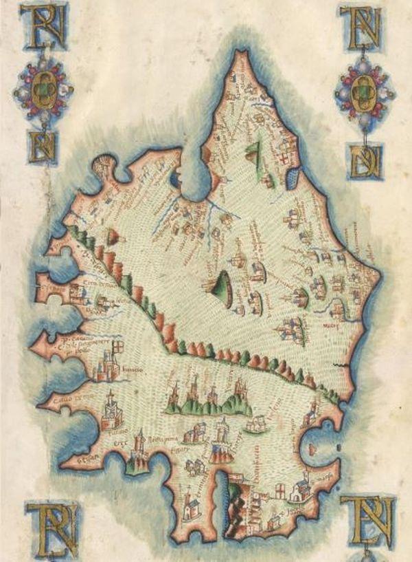 Plan de la Corse datant de l'époque médiévale