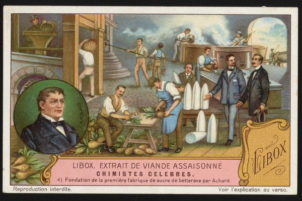 Carte publicitaire de Libox illustrant la fondation de la première fabrique de sucre de betteraves par Achard